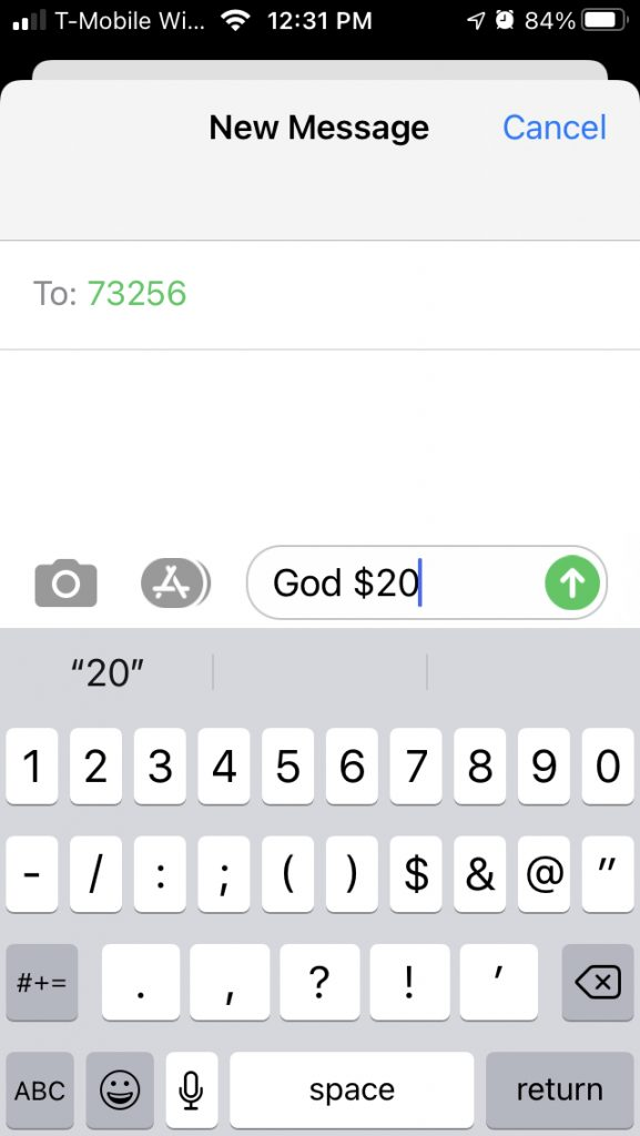 """Text the word """"God"""" followed by the gift amount to phone number 73256."""